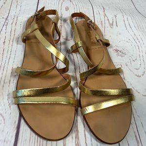 J.Crew made in Italy Gold Metallic Sandals Size 6